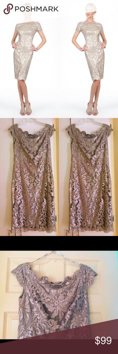 TADASHI SHOJI Nude Tan Evening Dress Perfect for the upcoming holidays🎄⛄️ This dress will certainly flatter any body type 👗😍 Will include a Christmas gift with every purchase🎅🏼🎁 Tadashi Shoji Dresses Midi