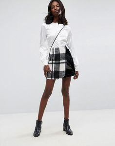 9e41b1b7cf ASOS Check and Vinyl Mini Skirt - Black Summer Skirts