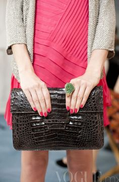 Vogue: Love this look - dark constrasting with the hot pink! Looks Style, Style Me, Reason To Breathe, Look Dark, Black Clutch, Pink Clutch, Classy And Fabulous, Chanel Boy Bag, Pretty In Pink