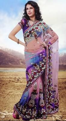 Attractive Sky Blue Embroidered Saree