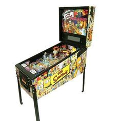 """The adventures of the """"Simpsons"""" Family are transformed into a wild affair in this pinball! It features many of The Simpsons favorite characters on a two-level play field, influenced by classic Simpson's episodes. Flipper Pinball, Stern Pinball, Arcade Games For Sale, Retro Arcade Games, Pinball Games, Carnival Game Rentals, Arcade Game Machines, Video Game Rooms, Video Games"""