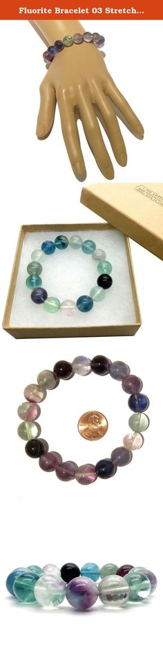 Fluorite Bracelet 03 Stretch Rainbow Stone Green Purple Crystal Healing 11-12mm (Gift Box) (7.5 Inches). RAINBOW FLUORITE STRETCH BRACELET Natural Rainbow Fluorite stones are strung on your new crystal healing bracelet. This is a high- quality, translucent stone found in shades of green, purple, yellow, pink, blue and clear. The Fluorite stones may show unique inclusions and rainbow planes. They are polished into smooth 11mm to 12mm round beads and strung on sturdy stretch cord for a...