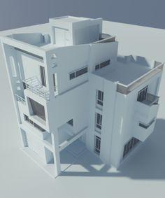 台中豐原五汴段 住宅設計 3D 正面俯視
