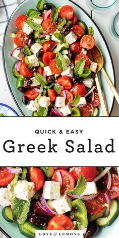 Greek Salad Recipe - Love and Lemons Easy Greek Salad Recipe, Greek Salad Recipes, Summer Salad Recipes, Greek Salad Ingredients, Roasted Vegetable Pasta, Roasted Vegetables, Veggies, Best Summer Salads, Vegetarian Recipes
