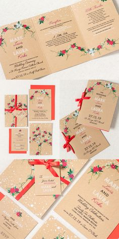 Christmas Wedding Stationery. Falling snow, red and white floral patterns, simple text and Kraft paper. This is perfect for any modern Christmas wedding. Part of the 'TWILIGHT' collection by Paper Date.