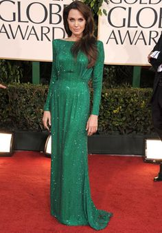 Angelina Jolie in a Versace Emerald Green Gown...beautiful!!!  redcarpet-fashionawards.com