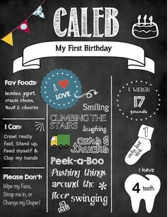 DIY printable birthday chalkboard print First Birthday Parties, First Birthdays, Birthday Ideas, Diy Birthday Chalkboard, Chalkboard Print, Winter Onederland, Party Entertainment, Inspiration For Kids, Cake Smash