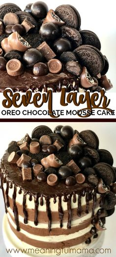 This Is An Impressive Cake Reaching Seven Layers Tall. The Candy And Cookie Chocolate Toppings Are Perfect For Chocolate Lovers. The Oreo Cake And Chocolate Mousse Filling Pair Perfectly. It's A Beautiful And Delicious Cake For Any Celebration. Chocolate Mousse Cake, Chocolate Topping, Chocolate Desserts, Chocolate Lovers, Oreo Dessert Recipes, Just Desserts, Delicious Desserts, Cheesecake Desserts, Raspberry Cheesecake
