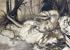 """Arthur Rackham: """"Siegfried kills Fafnir"""" from his 32 colour plates illustrating Richard Wagner's """"Siegfried"""" (1911),  imagery that heavily influenced Fritz Lang's and Thea von Habou's imagery of their 1924 """"Nibelungen"""" movie"""