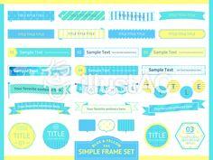 見出しセット6 爽やかブルーイエロー Text Design, Ui Design, Layout Design, Design Elements, Typographic Design, Typography, Leaflet Design, Promotional Design, Photoshop Illustrator