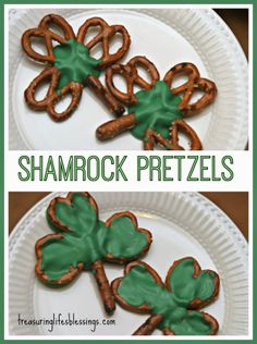 St. Patrick's Day treats- Shamrock Pretzels