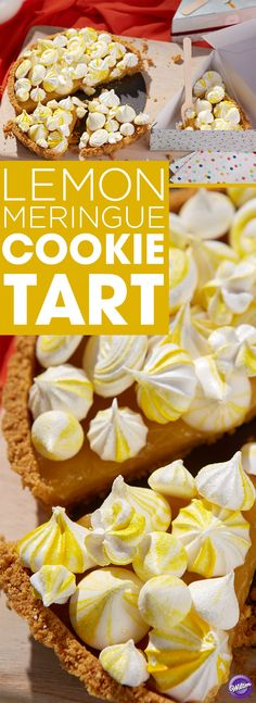 Lemon Meringue Cookie Tart Recipe - Make a yummy homemade lemon tart for Thanksgiving! Top it off with some pretty meringues for a beautiful and sweet finish.