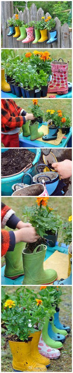 Alte Gummistiefel wieder verwenden und als Kinder Blumentöpfe nehmen. Muss man mögen, aber die Idee ist witzig.