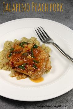 Jalapeno Peach Pork  -  A very quick cooking, skillet meal of pork loin chops with a nice balance of sweet and heat. #pork