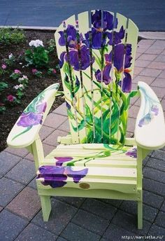 Iris ~ Painted Chairs For Charity ~ The Painted Muskoka Chairs are done for annual charity events Hand Painted Chairs, Whimsical Painted Furniture, Hand Painted Furniture, Paint Furniture, Repurposed Furniture, Rustic Furniture, Furniture Makeover, Cool Furniture, Painted Tables