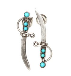 WORKHORSE SLOANE EARRINGS - Oxidized Sterling Silver Dagger Studs With Turquoise Cabochons.