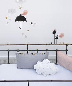 Planche de stickers A3 chambre d'enfant et bébé : Petite pluie