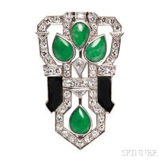 Art Deco Platinum, Jade, and Onyx Brooch. | Lot 67 | Auction 2965B | Estimate $2,500-3,500