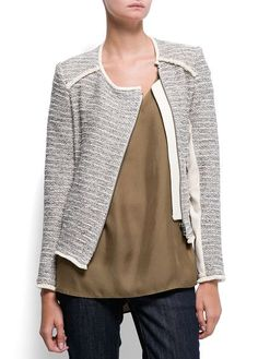 MANGO - CLOTHING - Jackets - Zipped bouclé jacket(:an uneven yarn of three plies one of which forms loops at intervals)  -Liyana A. Wong FMM1B1