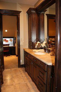 Beautiful bathroom vanity - love the floor Master Bedroom Closet, Master Bathroom, Master Suite, Walk In Shower Enclosures, Bathroom Colors, Bathroom Ideas, Bath Ideas, Beautiful Bathrooms, Bathroom Renovations