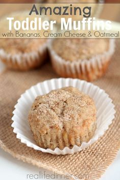 Toddler Muffins with Banana, Cream Cheese and Oatmeal - Real Life Dinner Baby Food Recipes, Snack Recipes, Cooking Recipes, Cooking Stuff, Detox Recipes, Little Muffins, Toddler Lunches, Homemade Toddler Snacks, Picky Toddler Meals