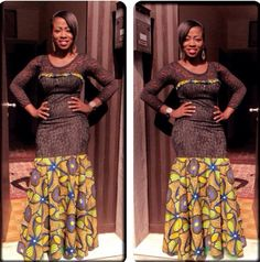 Ankara look that feel modern & fashion forward! Ankara fabrics are versatile, colourful and dominate red carpet and make fashion statements all the time and the weekends are the perfect… African Dresses For Women, African Attire, African Wear, African Women, African Clothes, African Inspired Fashion, Africa Fashion, Ankara Stil, African Braids Styles