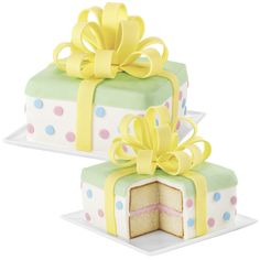 The best gift is one that delights and surprises! This baby reveal cake does both. The delightful design is easily covered in Ready-To-Use Rolled Fondant and topped with a make-ahead fondant bow. And, the surprise is inside?the tinted icing that fills the center tells everyone if baby is a boy or girl!