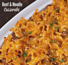 Noodle Casserole Beef and Noodle Casserole on - easy comfort food that only takes minutes to prepare!Beef and Noodle Casserole on - easy comfort food that only takes minutes to prepare! Beef Dishes, Pasta Dishes, Food Dishes, Main Dishes, Easy Casserole Recipes, Casserole Dishes, Chicken Casserole, Ground Beef Noodle Casserole, Taco Casserole