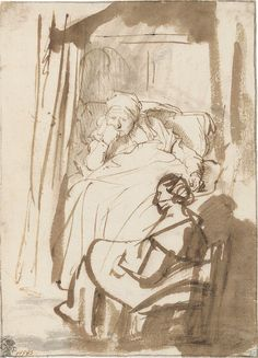 Rembrandt van Rijn – Saskia Lying in Bed, a Woman Sitting at Her Feet, ca.1638