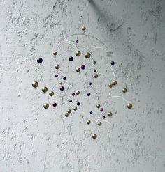 Golden Ball Mobile / Winter Holiday Decoration / by MultiColori #Christmas, #ChristmasDecor, #ChristmasMobile,