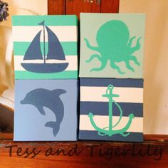 Four hand painted canvases, turquoise and navy. Sailboat, octopus, dolphin and anchor. Anchor Painting, Nautical Painting, Acrylic Painting Canvas, Diy Painting, Canvas Art, Nautical Canvas, Nautical Nursery, Baby Nursery Decor, Dolphin Art