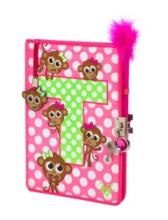 Shop our Monkey Initial Diary. Justice School Supplies, Cute School Supplies, Justice Stuff, Shop Justice, School Items, School Bags, Taylor Gifts, Bedroom Crafts, Cute Notebooks