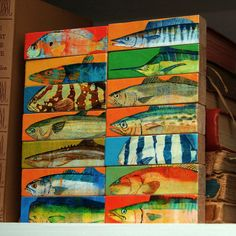 Whole Mess of Fish Sticks - Saltwater Fish Art Block Set of 14 Gifts for Fisherman. $44.00, via Etsy.