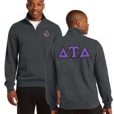 Fraternity  Heather Charcoal 1/4 Zip Sweatshirt with Sewn On Letters