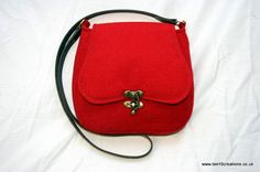Harris Tweed Saddle Bag with shaped flap in a beautiful Red Harris Tweed on Etsy, £89.00