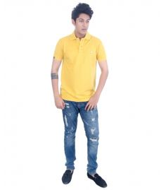 Grey Booze Yellow Slim Fit Polo T Shirt