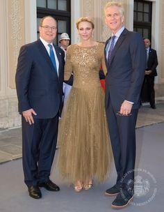 Princess Charlene and Prince Albert held a reception for Tv Festival. Princess Charlene wore Ralph Lauren Beaded Sarena Gown. www.newmyroyals.com