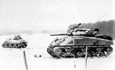 "U.S. Armour during ""The Battle of the Bulge"", December 1944."