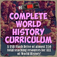 This USB flash drive includes almost 350 files in 25 folders full of EVERY resource for World History currently in my store PLUS tons more great resources! Enough lesson plans for an entire year of World History completely planned out day-by-day!