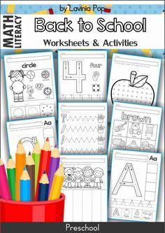 Back to School No Prep Preschool Worksheets and Activities
