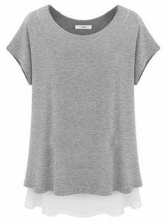 Grey Short Sleeve Ruffles Loose Chiffon T-Shirt - Sheinside.com