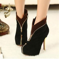 Womens Boots | Glamorous Black Suede Zipper Round Closed Toe Stiletto Super High Heel Boots - Hugshoes.com