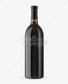 Green Glass Bottle With Red Wine Mockup