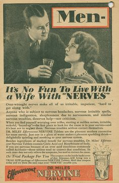 Old misogynist/ablist ad, suggesting anxiety disorders & such can be treated with what essentially sounds like a description of Mountain Dew.  ec4f0569372d62eba78b767b82f0c88e