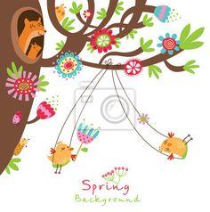 Kwiatu tła z ptaków na obrazach Redro. Najlepszej jakości fototapety, naklejki, obrazy, plakaty, poduszki. Chcesz ozdobić swój dom? Tylko z Redro