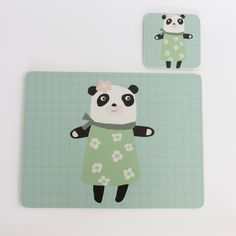 Mama Panda coaster and placemat gift set - perfect christening, birthday or Christmas present.  One of a family of four :)  #Kidsinteriors #children'stableware #kidsbirthdaypresentidea #christeningpresentideas #kidstablewares #scandidesigns #pandadesign #christmaspresentidea