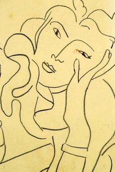 """Attr. Henri Matisse Drawing on Paper Depicting a female figure done in conte crayon, signed and dated 1930 to lower right, attributed to renowned French artist Henri Matisse (1869 - 1954), mounted in giltwood and ebony frame, measures 9""""H x 7""""W sight, 14""""H x 12.5""""W framed."""