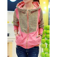 Stylish Color Splicing Zippered Long Sleeve Hoodie For Women