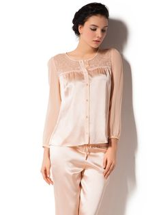 Silk pajamas for women featuring Lace shoulder and sheer sleeves are the ultimate luxury in sleep or loungewear comfort.