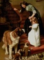 Cross Stitch Kits Cute Girl and Dog Crafts People Child Art Needlework Unprinted Embroidered Handmade DMC Wall Home Decor Classic Paintings, Dog Paintings, Vintage Images, Vintage Art, Vintage Prints, St Bernard Dogs, Dog Crafts, Victorian Art, Girl And Dog